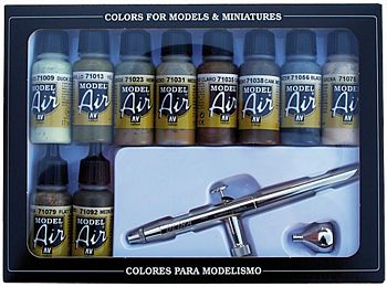 Model Air 10 Camo Colors + Airbrush Set
