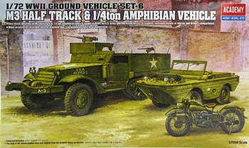 Academy 1/72 Scale - M3 Half-Track & 1/4Ton Amphibious Vehicle