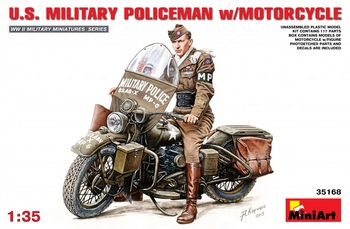 MiniArt 1/35 Scale - US Military Policeman with Motorcycle