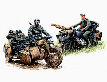 Masterbox 1/35 Scale - German Motorcycle Troops on the Move